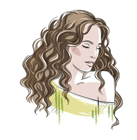 curly hair vector tutorial sketch of a beautiful girl with curly hair fashion