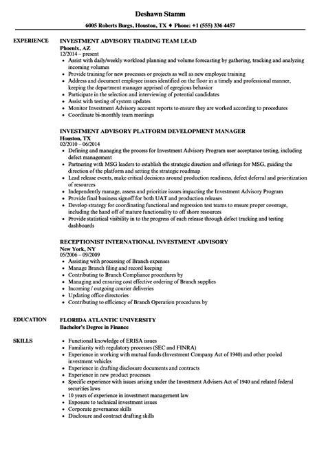 Investment Advisory Resume Sles Velvet Jobs Investment Advisor Compliance Manual Template