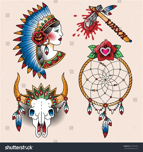 tattoo old school symbols set oldschool tattoos native american symbols stock vector