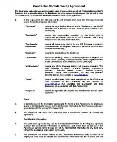 contractor confidentiality agreements 10 sle contractor agreements pdf doc sle templates