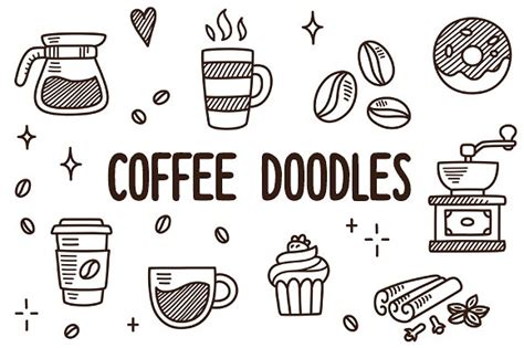 Vector Coffee Doodles Illustrations Creative Market