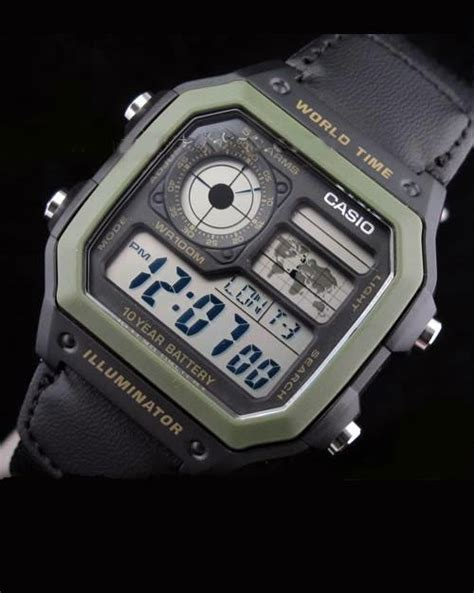 Jam Tangan Pria Casio Digital Ae 1200whd World Time 10 Years Battery jam tangan casio grosir