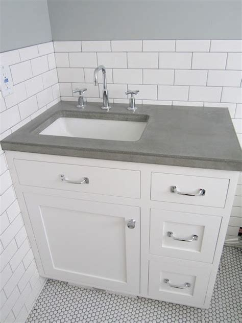 Just Countertops by White Vanity Grey Top Offset Sink Concrete Countertop
