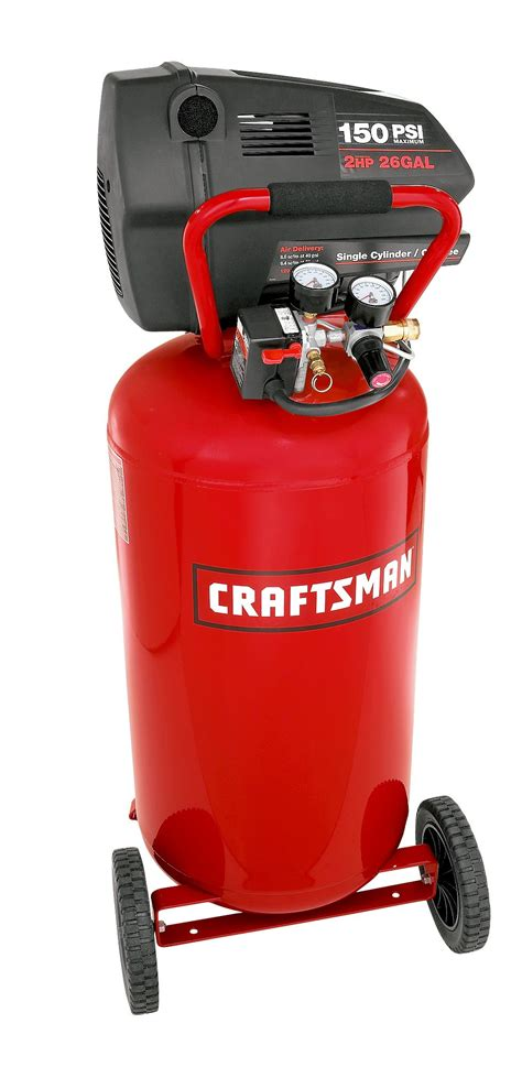 craftsman 16728 26 gal air compressor 2 hp wheeled vertical tank with accessory set