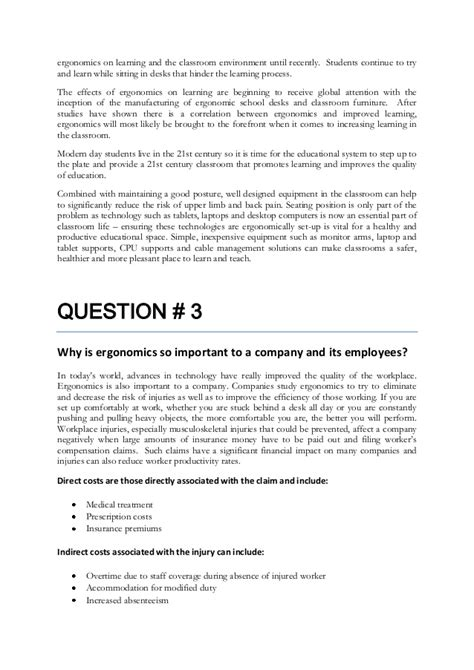 Ergonomic Evaluation Letter Assignment Ergonomics Homework