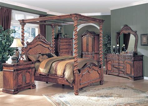 canopy bedroom sets oak finish classic 5pc canopy bedroom set
