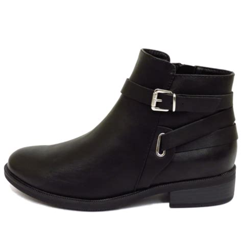 womens black flat zip up biker ankle chelsea pixie boots
