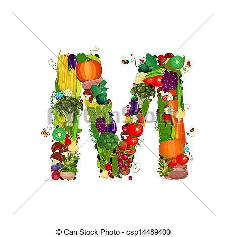fruit 5 lettres clipart vecteur de frais l 233 gumes m lettre fruits