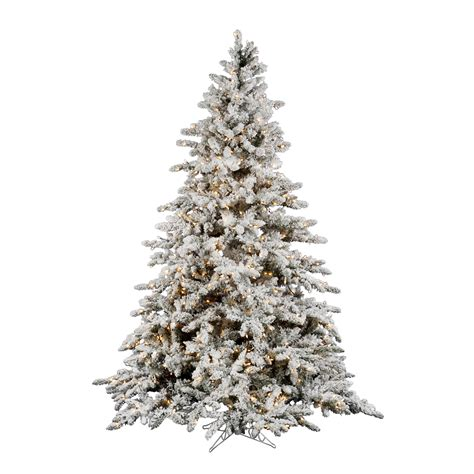 10 foot flocked utica fir christmas tree clear lights