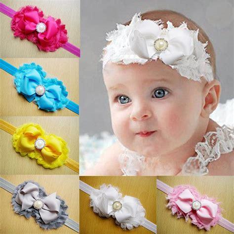 Headband Import Top Baby 4 shabby flowers baby headbands chiffon fabric flower pearls rhinestones hair bows children