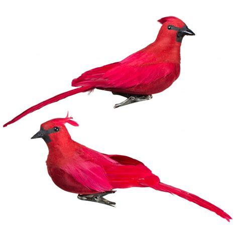cardinal clip 6 quot cardinal clip on bird ornament set of 2 3102594