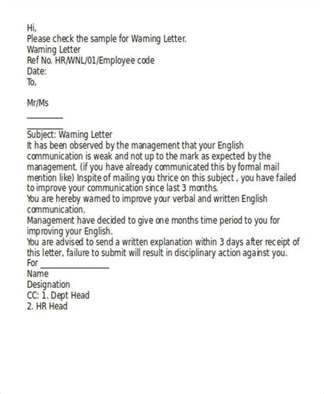 Complaint Letter Employee Poor Performance 7 performance warning letter template 7 free word pdf