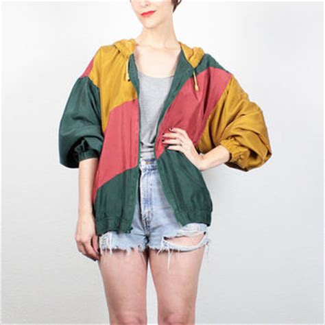 H918693 Jaket Parasit Yellow Two Color Sports Jacket Import vintage 80s bomber jacket 1980s silk from shoptwitchvintage