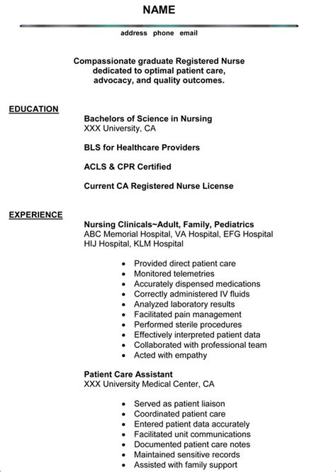 nursing resume prossle nursing resume