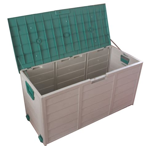 backyard storage box new garden outdoor plastic storage chest shed box case container with lid wheels ebay