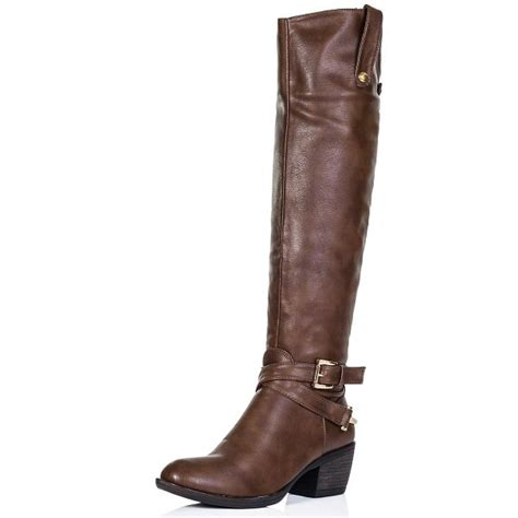 buy heeled knee high boots brown leather