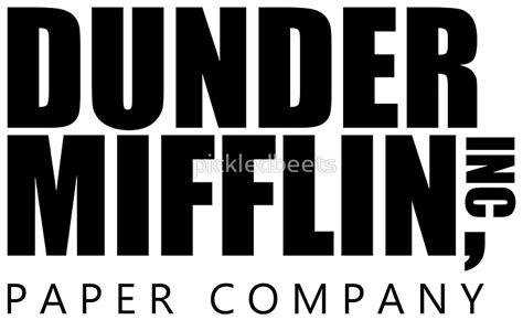 Dunder Mifflin quot dunder mifflin logo b w sticker quot stickers by