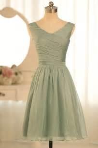sleeveless v neck short sage green bridesmaid dress idress
