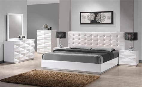 carrerie king size modern white leatherette headboard bedroom set pc