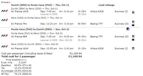 airfare   day air franceklm business class zurich