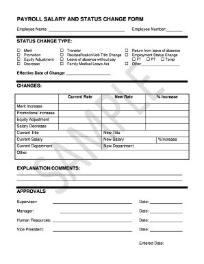 payroll status change form template payroll change form templates fillable printable
