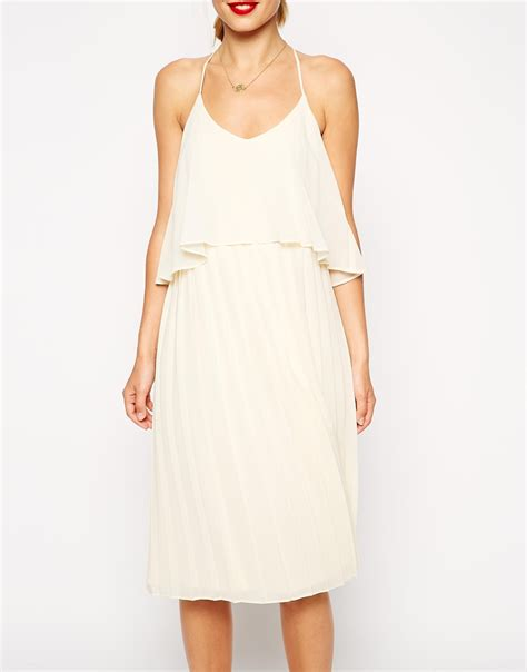 pleated swing dress asos cami swing dress with pleated skirt in natural lyst