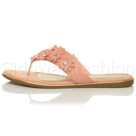 sandals with flowers on them womens flat flower diamante embellished toe post