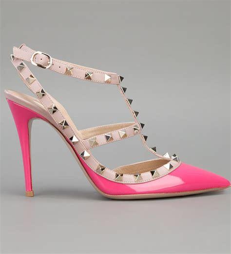 valentino rockstud 100mm fuchsia pink patent leather t