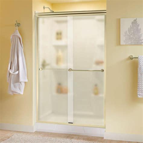 Brass Shower Door Delta Crestfield 48 In X 70 In Semi Frameless Sliding Shower Door In Brass With Niebla Glass