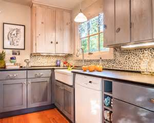 Rustic Backsplash For Kitchen inspiration for a beach style enclosed kitchen remodel in other with a
