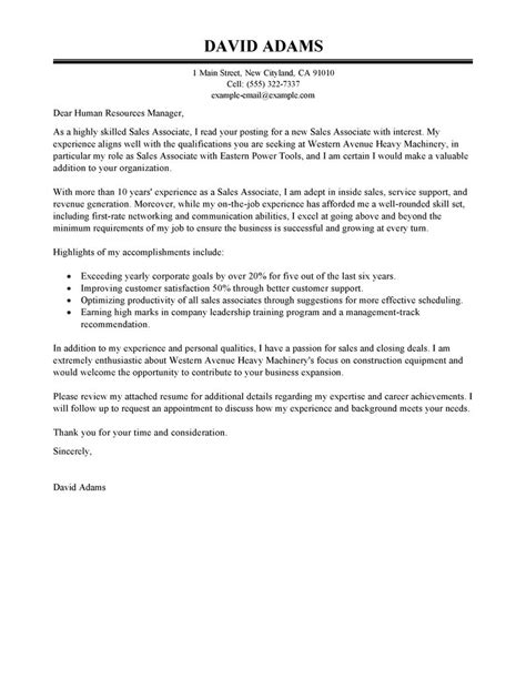 cover letter exle for sales associate sales associate cover letter exles customer service