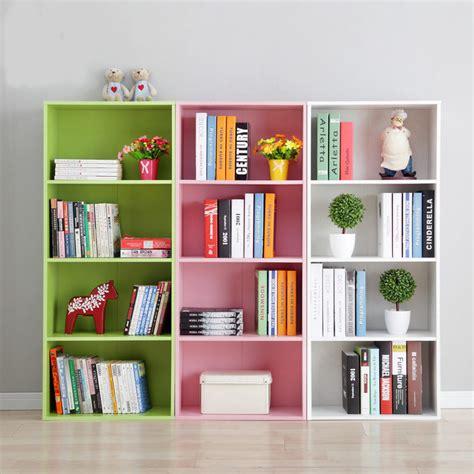 4pcs bookcase 3 shelf adjustable furniture green bookshelf