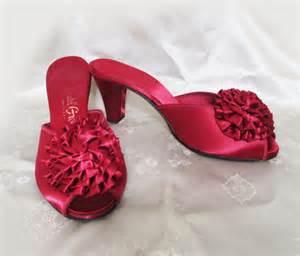 high heel bedroom slippers vintage high heel pom pom bedroom slippers by lunajunctionvintage