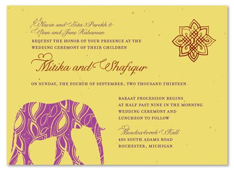 indian wedding invitation messages indian wedding cards painted elephant wedding