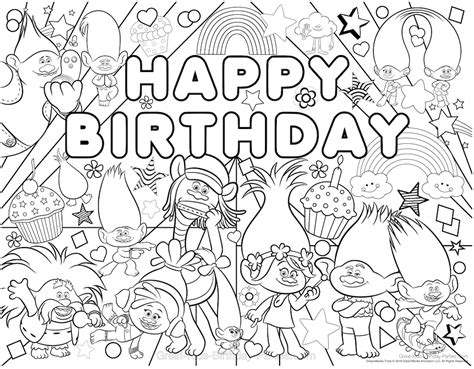 happy birthday poppy coloring pages trolls party happy birthday birthdays and troll party