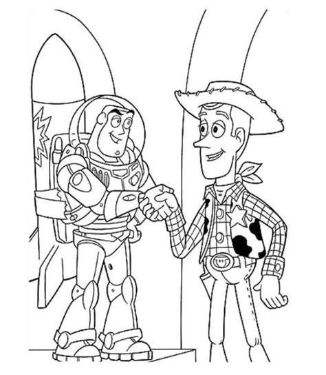 handshake coloring page print woody and buzz handshake toy story coloring page or