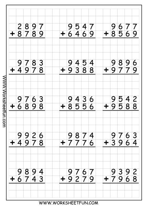 adding with regrouping worksheets 4 digit addition with regrouping carrying 9 worksheets free printable worksheets