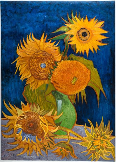 5 Paintings By Gogh by Vase With Five Sunflowers Gogh Reproduction Gogh