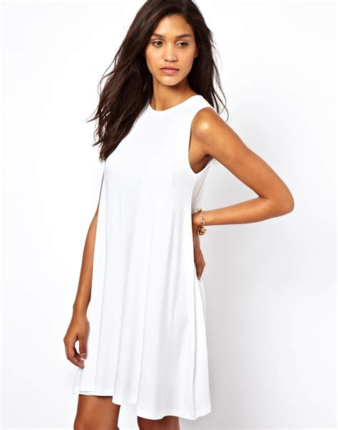 swing dress asos sleeveless swing dress in white lyst