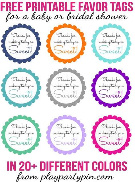 The Sweetest Baby Shower Favors You Ve Ever Seen Free Printable Baby Shower Favor Tags Template