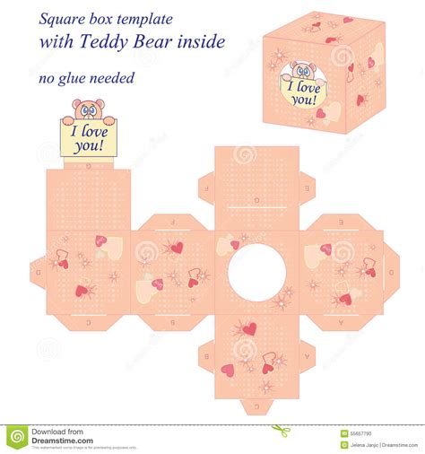 kawaii box template printable diy and crafts pinterest interesting square box template with cute teddy bear