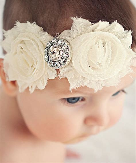 ella s bows ivory shabby cover headband set infant beautiful baby and flower