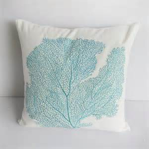 bedding pillows decorative decorative off white coral fan embroided in aqua blue 20inch