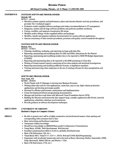 software programmer resume format software programmer resume sles velvet