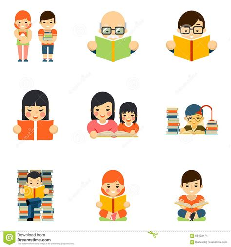 4 designer illustration style education icons set of people reading book in flat style stock