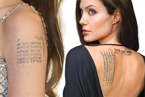 tattoo angelina jolie betekenis celebrities famous tattoos tam blog