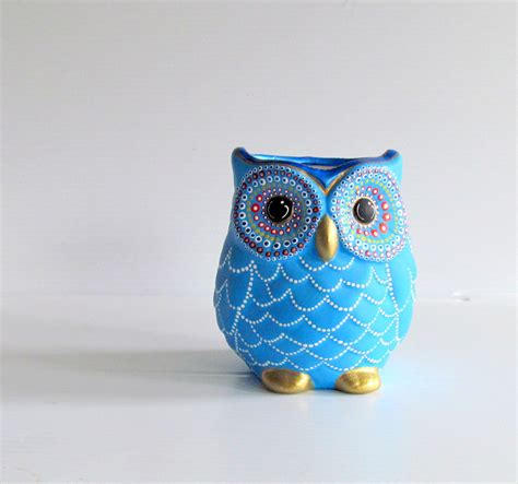 paint pottery and bead it blue owl vase small painted ceramic owl vase or pencil