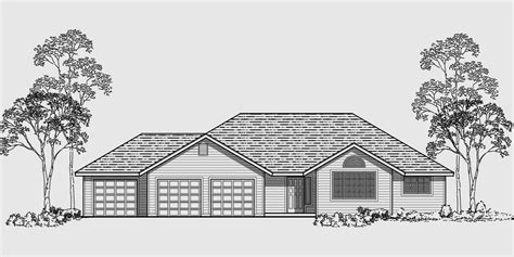 3 story building single story house plans 3 car garage