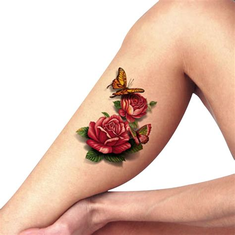 amazon tattoos tafly s blue flower 3d peony butterfly