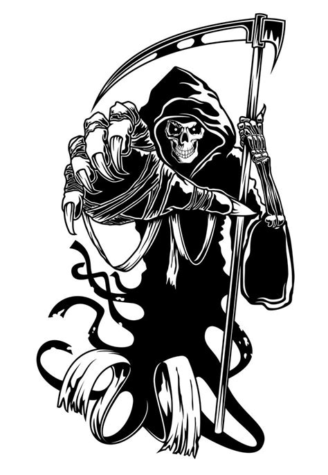 tribal grim reaper tattoo designs clipart best